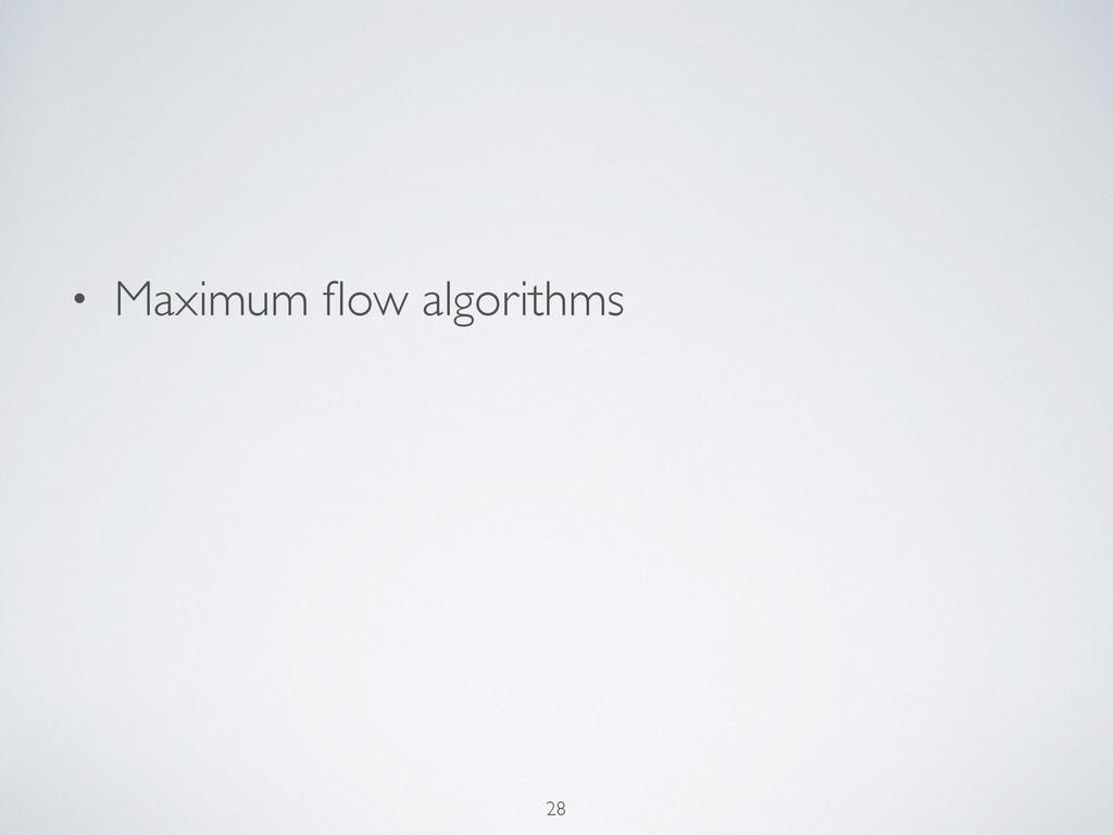 • Maximum flow algorithms 28