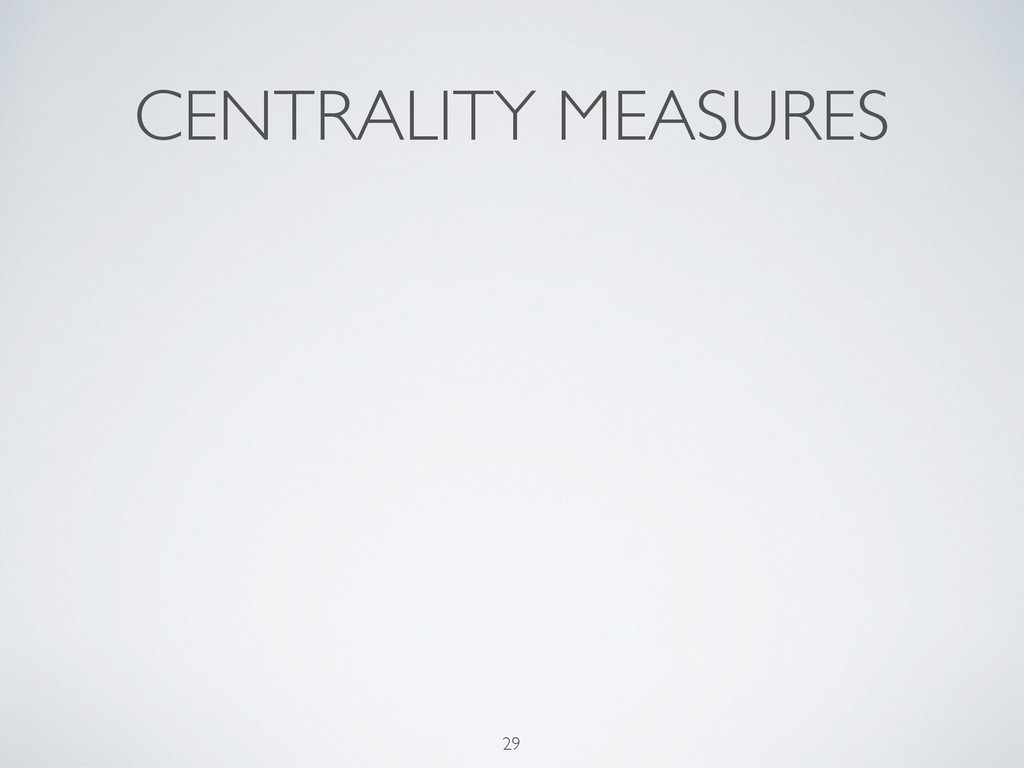 CENTRALITY MEASURES 29