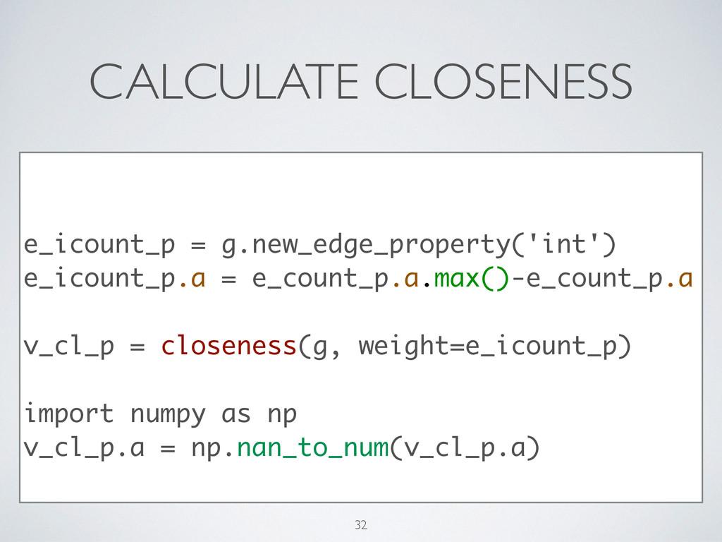 CALCULATE CLOSENESS ! ! e_icount_p = g.new_edge...