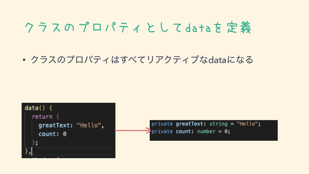 クラスのプロパティとしてdataを定義 • ΫϥεͷϓϩύςΟͯ͢ϦΞΫςΟϒͳdataʹ...