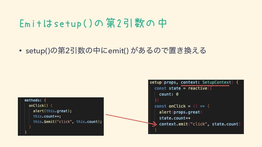 Emitはsetup()の第2引数の中 • setup()ͷୈ2Ҿͷதʹemit() ͕͋Δ...