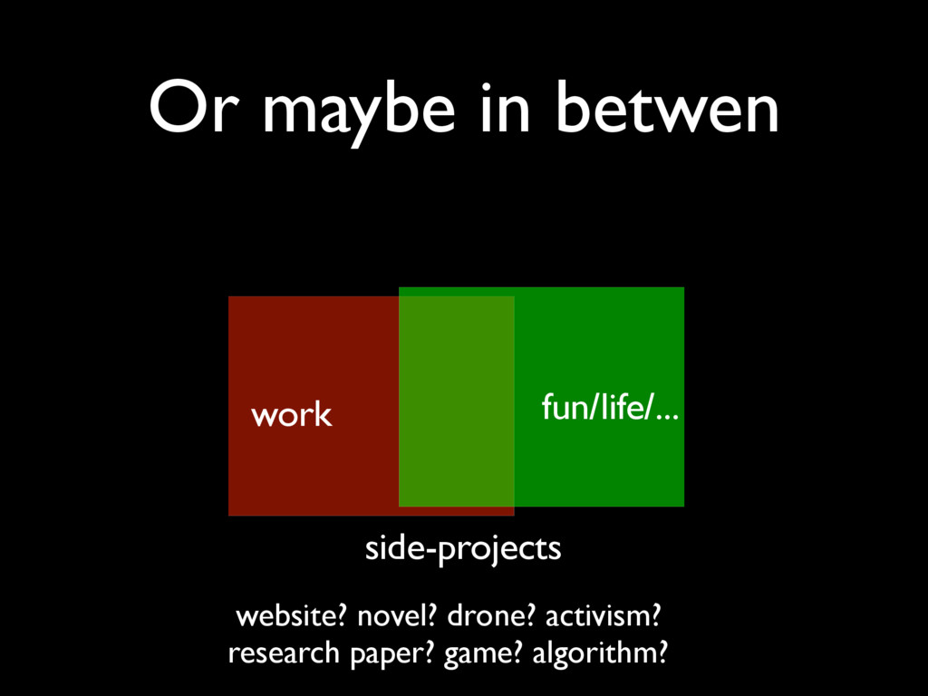 Or maybe in betwen work side-projects fun/life/...