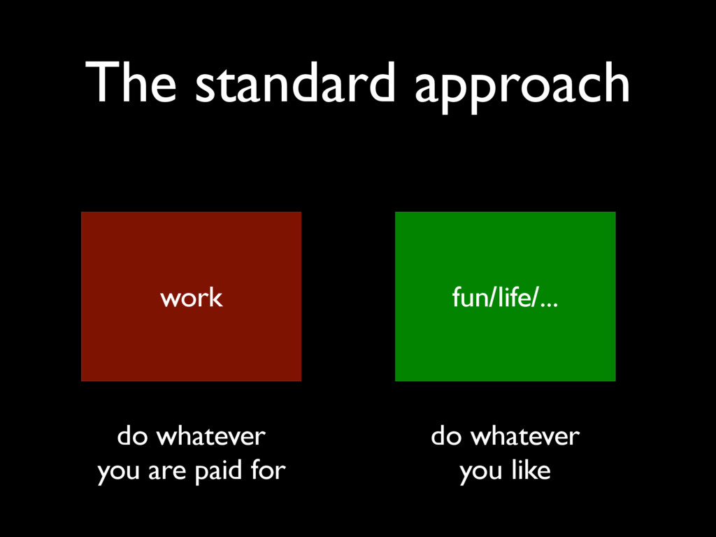 The standard approach work fun/life/... do what...