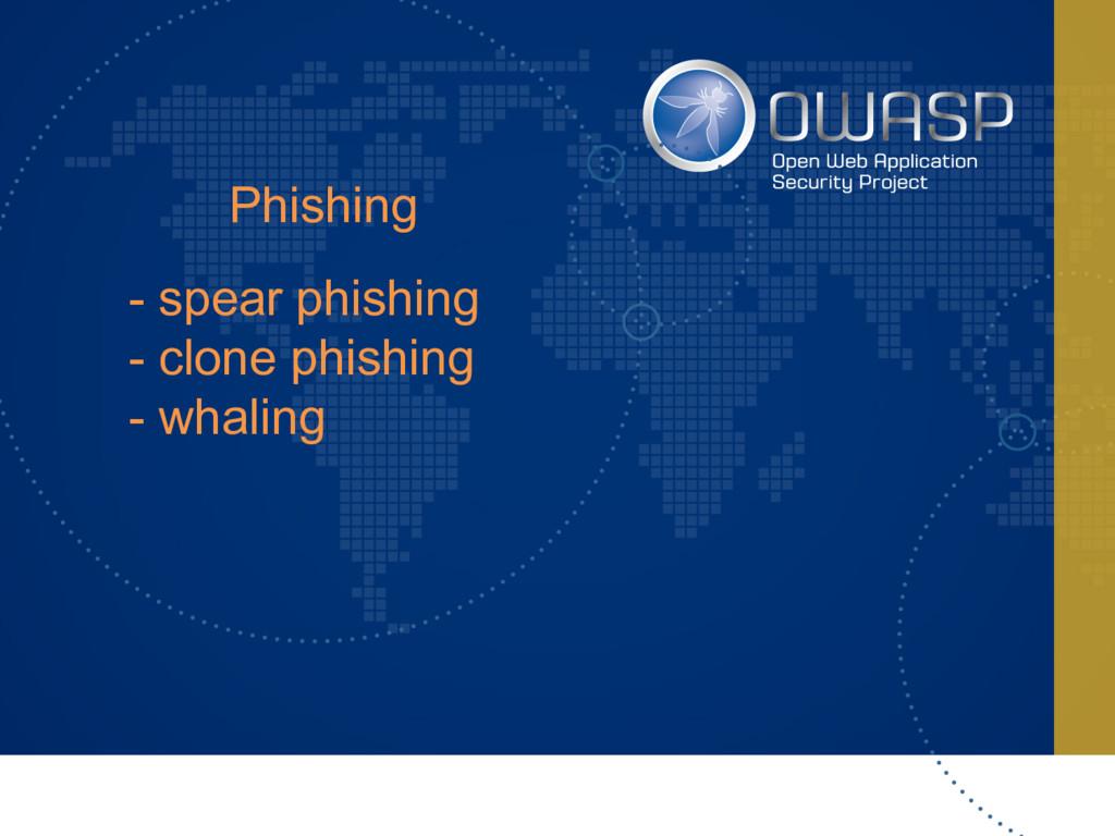 Phishing - spear phishing - clone phishing - wh...