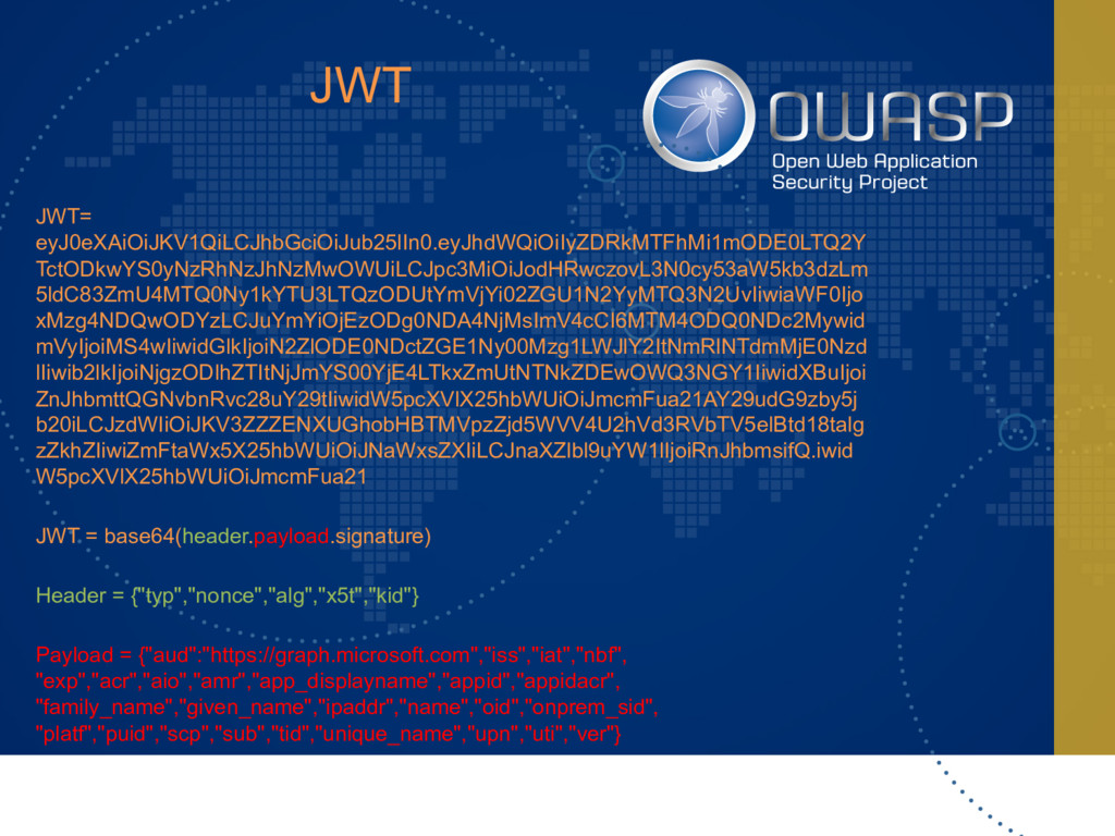 JWT JWT= eyJ0eXAiOiJKV1QiLCJhbGciOiJub25lIn0.ey...