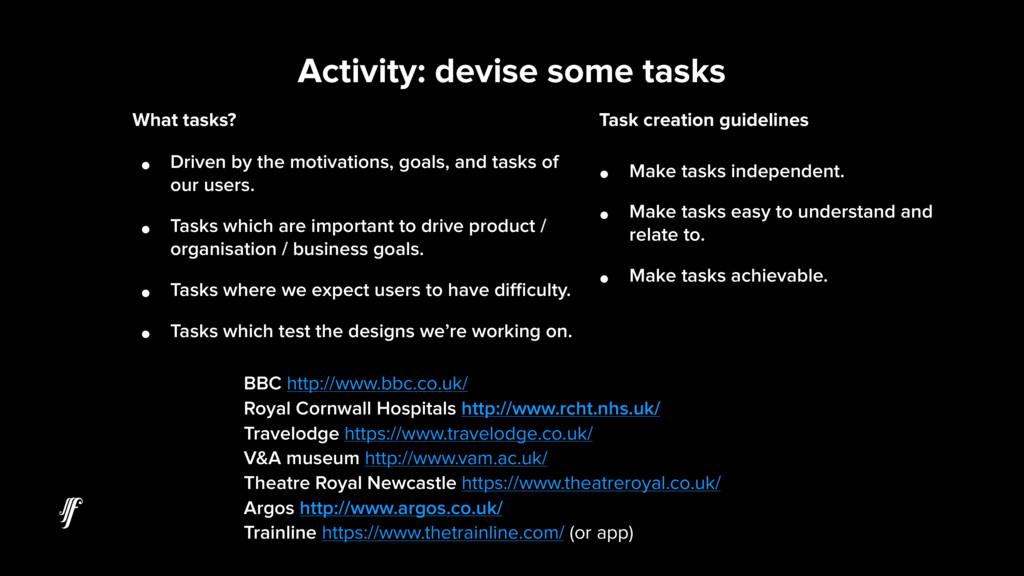 Activity: devise some tasks BBC http://www.bbc....