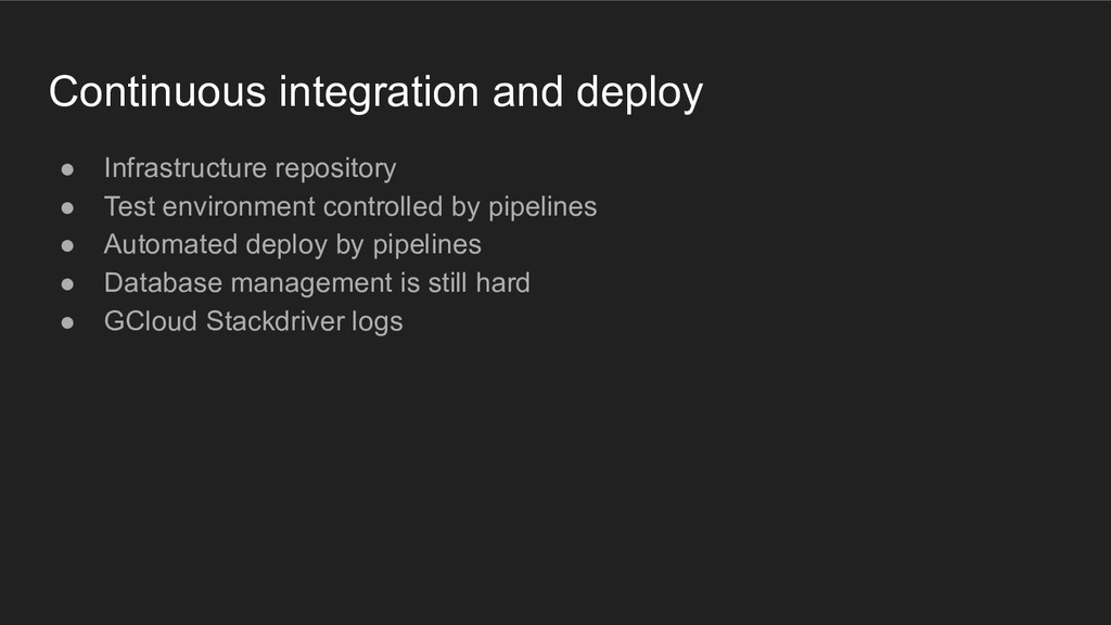 Continuous integration and deploy ● Infrastruct...