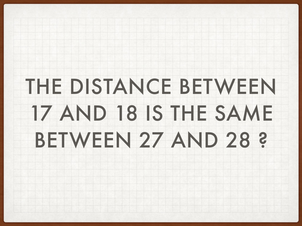 THE DISTANCE BETWEEN 17 AND 18 IS THE SAME BETW...
