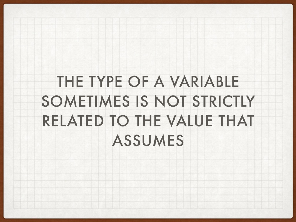 THE TYPE OF A VARIABLE SOMETIMES IS NOT STRICTL...