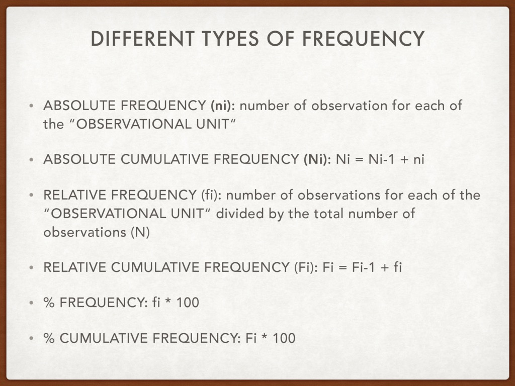 DIFFERENT TYPES OF FREQUENCY • ABSOLUTE FREQUEN...