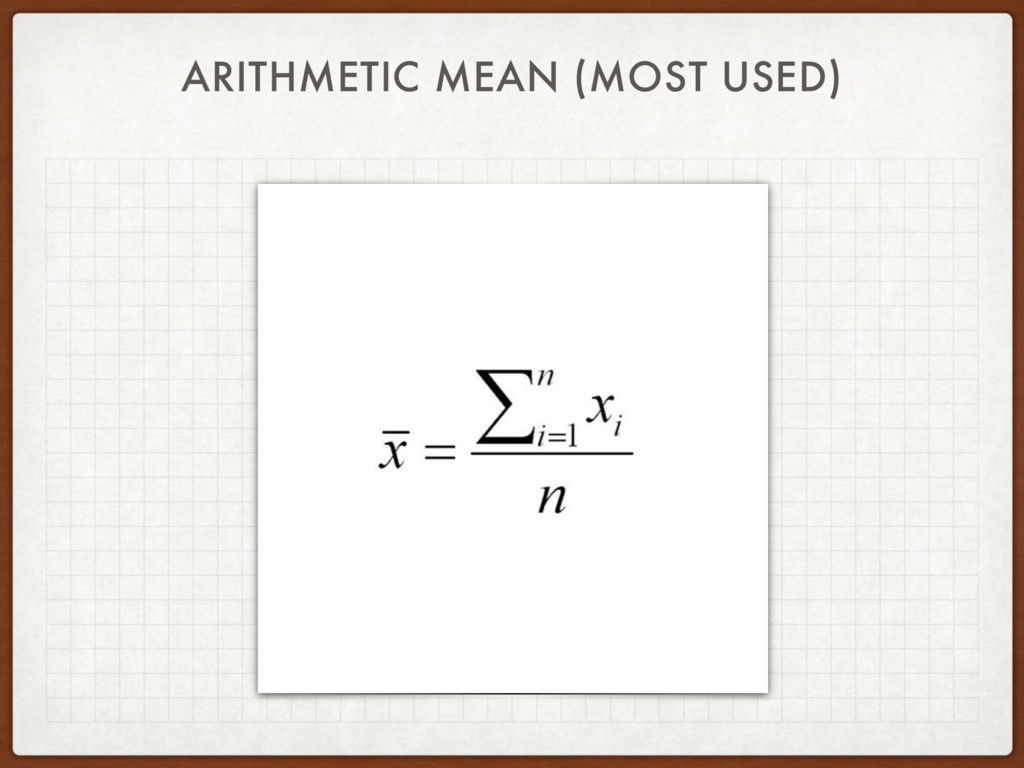 ARITHMETIC MEAN (MOST USED)
