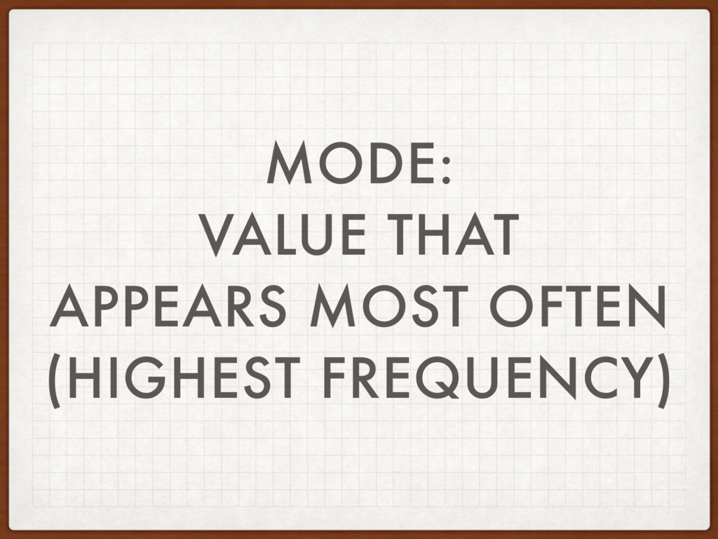 MODE: VALUE THAT APPEARS MOST OFTEN (HIGHEST FR...