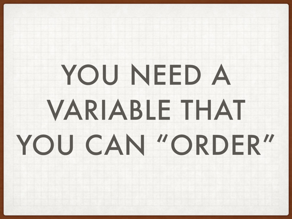 "YOU NEED A VARIABLE THAT YOU CAN ""ORDER"""