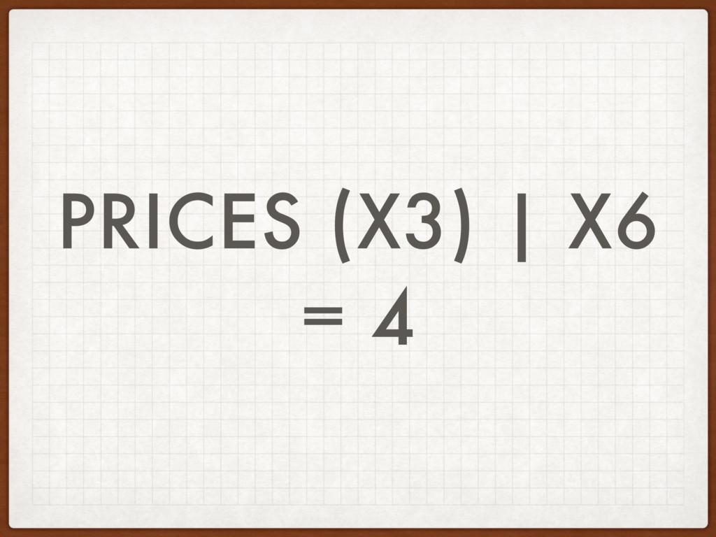 PRICES (X3) | X6 = 4