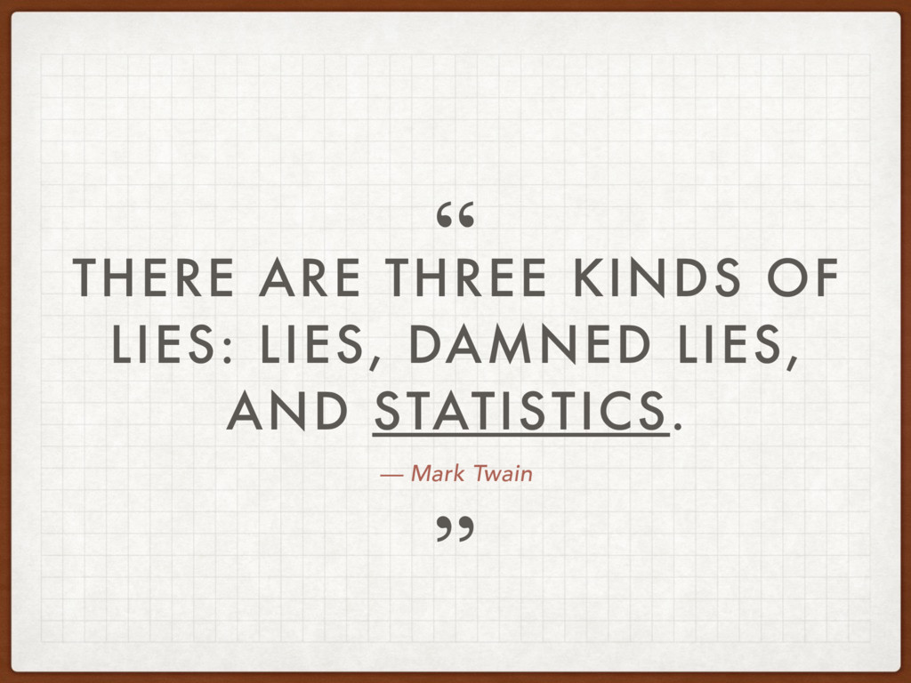— Mark Twain THERE ARE THREE KINDS OF LIES: LIE...