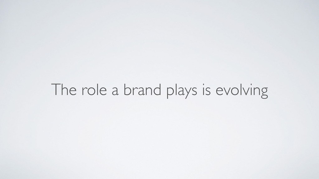 The role a brand plays is evolving