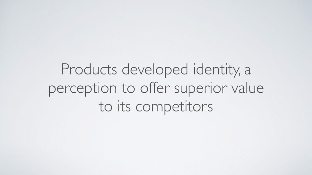 Products developed identity, a perception to of...