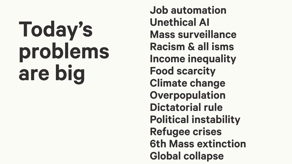 Today's problems are big Job automation Unethic...