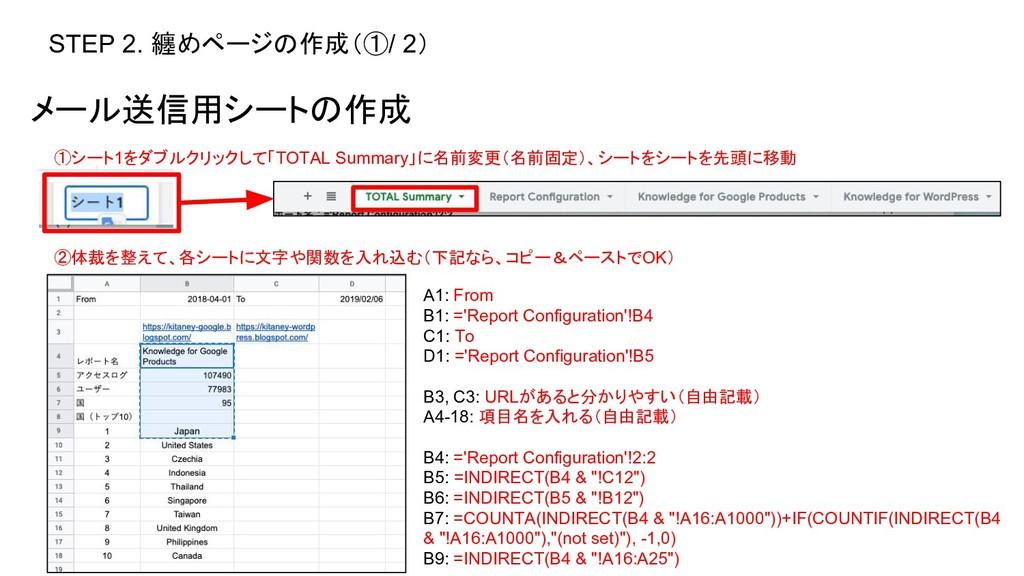 STEP 2. 纏めページの作成(①/ 2) メール送信用シートの作成 ①シート1をダブルクリ...
