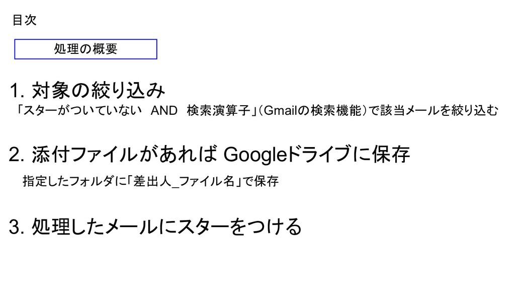 目次 1. 対象の絞り込み  「スターがついていない AND 検索演算子」(Gmailの検索機...