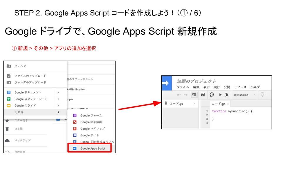 STEP 2. Google Apps Script コードを作成しよう!(① / 6) Go...