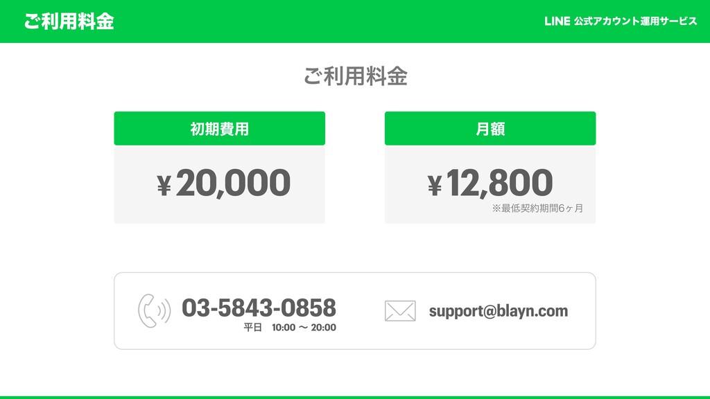 ͝ར༻ྉۚ ެࣜΞΧϯτӡ༻αʔϏε ͝ར༻ྉۚ ॳظඅ༻ ¥ 20,000 ֹ݄ ¥ 12...