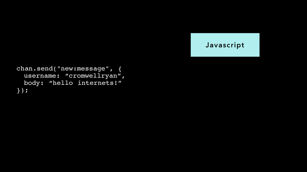 "Javascript chan.send(""new:message"", {! ! userna..."