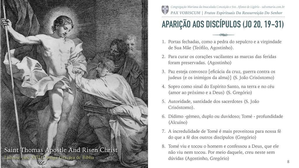 APARIÇÃO AOS DISCÍPULOS (JO 20, 19-31) 1. Porta...