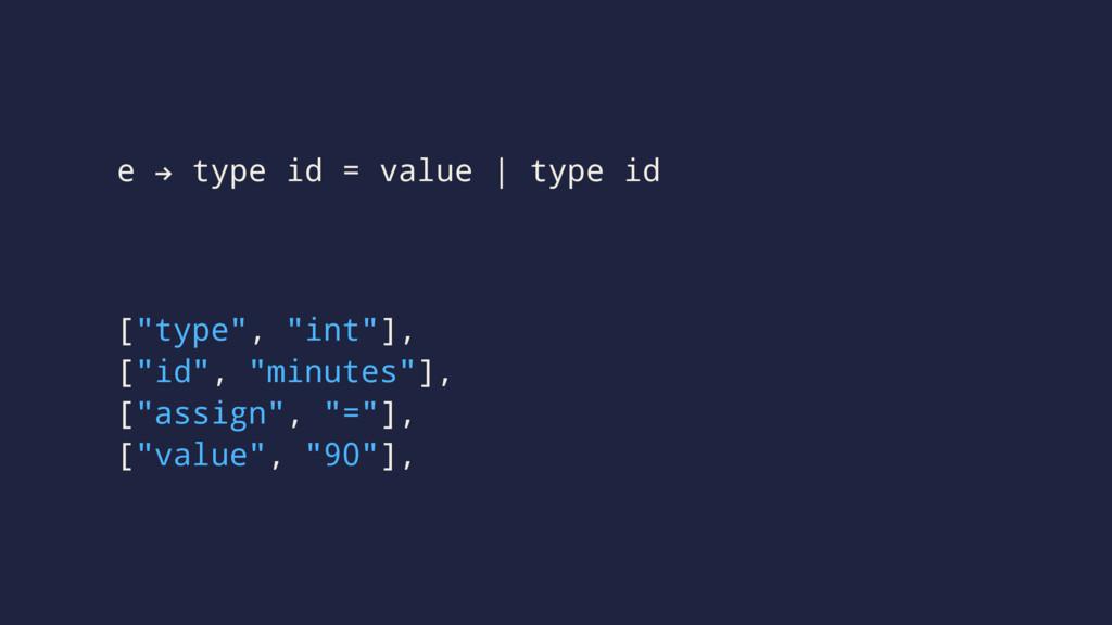 "e ! type id = value | type id [""type"", ""int""], ..."