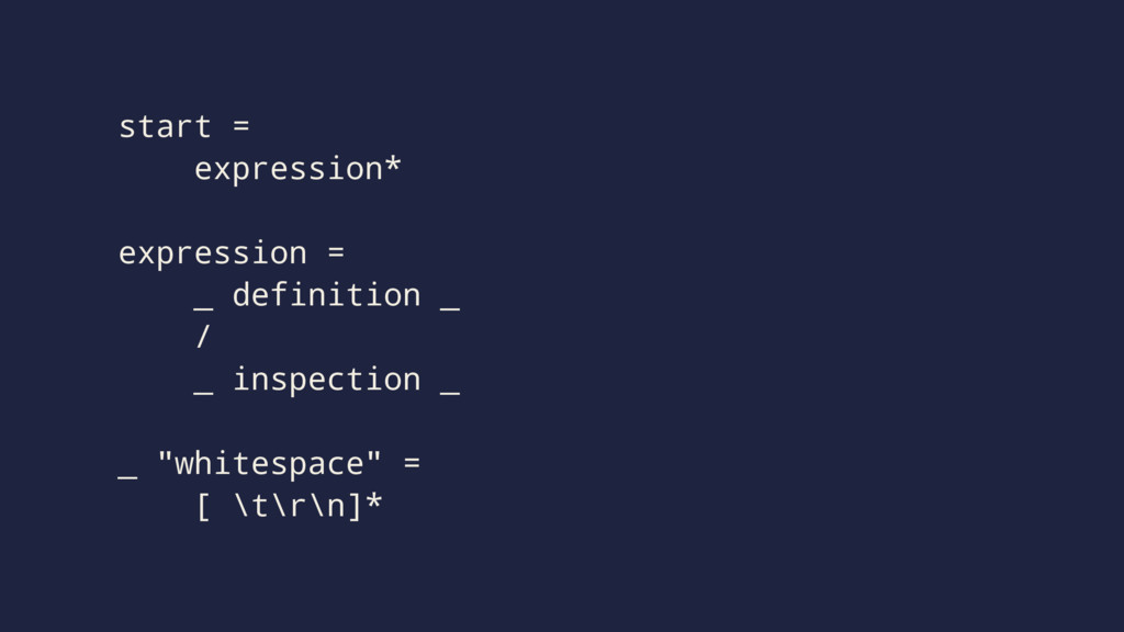 start = expression* expression = _ definition _...