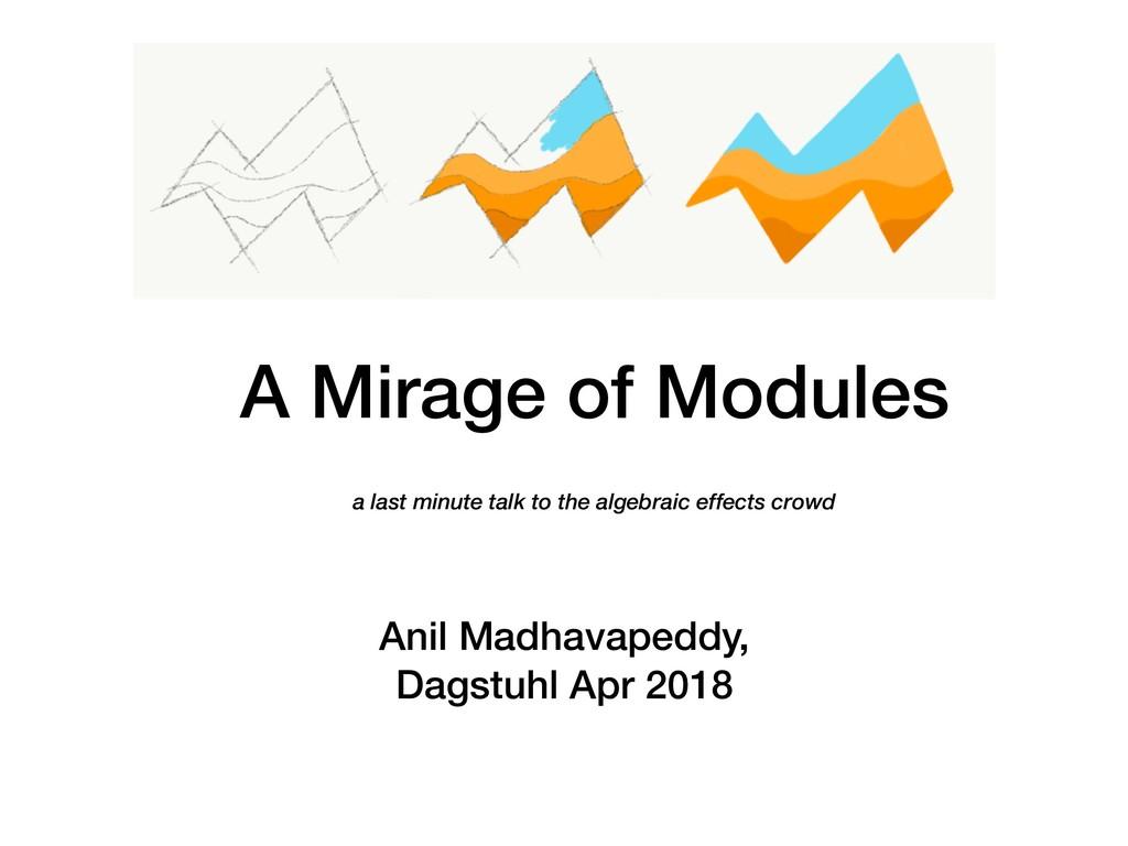 A Mirage of Modules Anil Madhavapeddy, Dagstuh...
