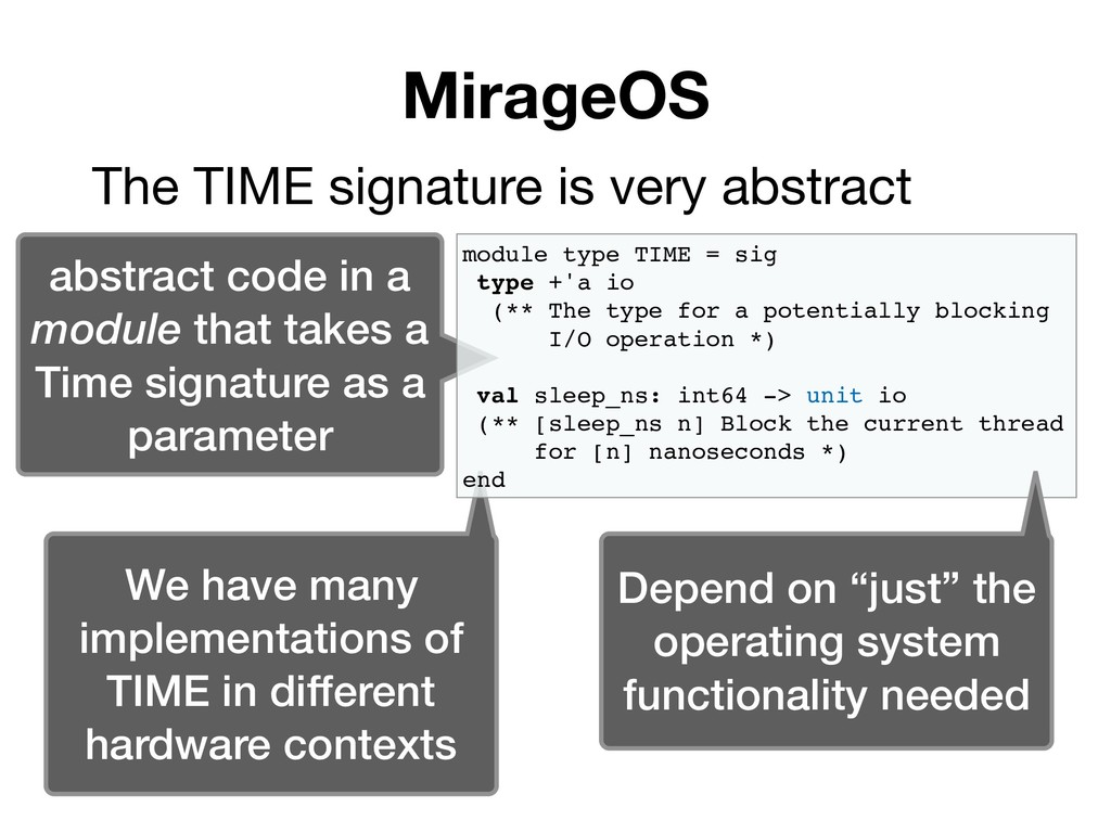 MirageOS The TIME signature is very abstract ab...