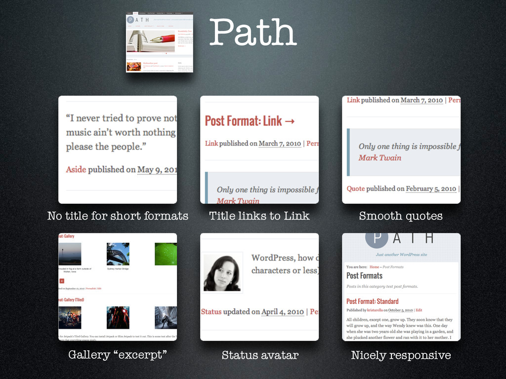 Path No title for short formats Title links to ...