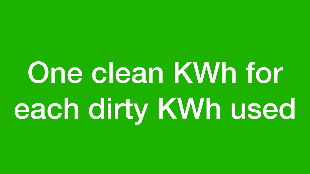One clean KWh for each dirty KWh used