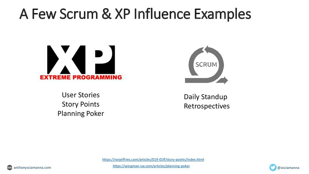 A Few Scrum & XP Influence Examples User Storie...