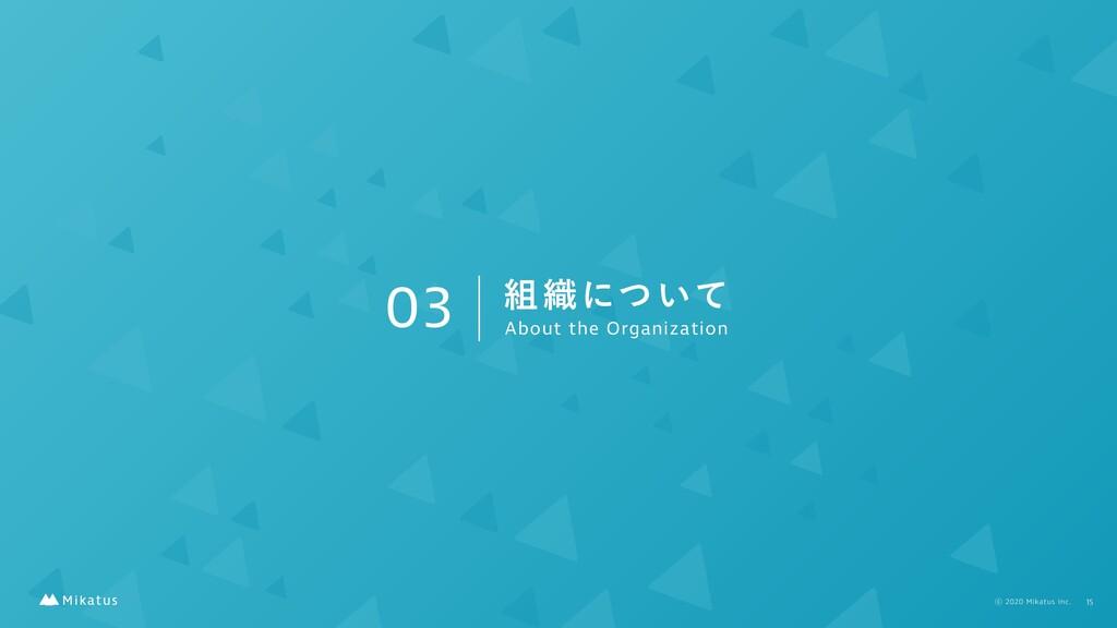 03 ৫ʹ͍ͭͯ About the Organization 15 ⡋2020 Mika...