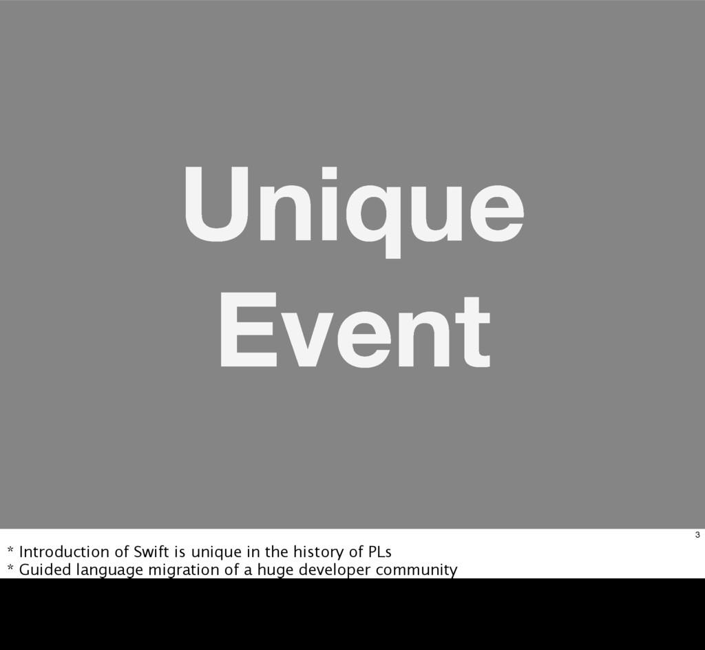 Unique Event 3 * Introduction of Swift is uniqu...
