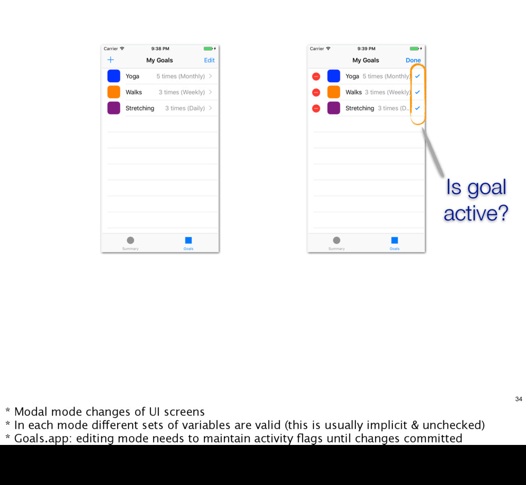 Is goal active? 34 * Modal mode changes of UI s...