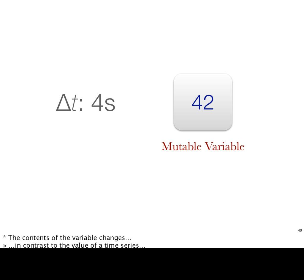 42 Δt: 4s Mutable Variable 46 * The contents of...
