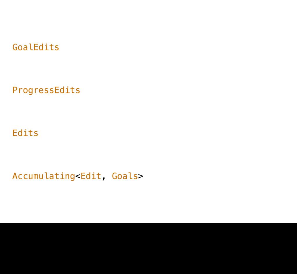 Accumulating<Edit, Goals> Edits ProgressEdits G...