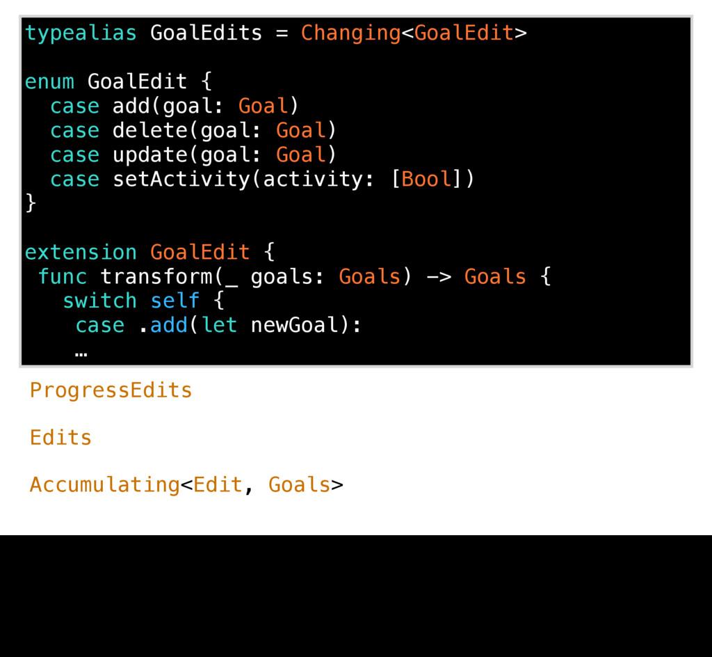 typealias GoalEdits = Changing<GoalEdit> enum G...