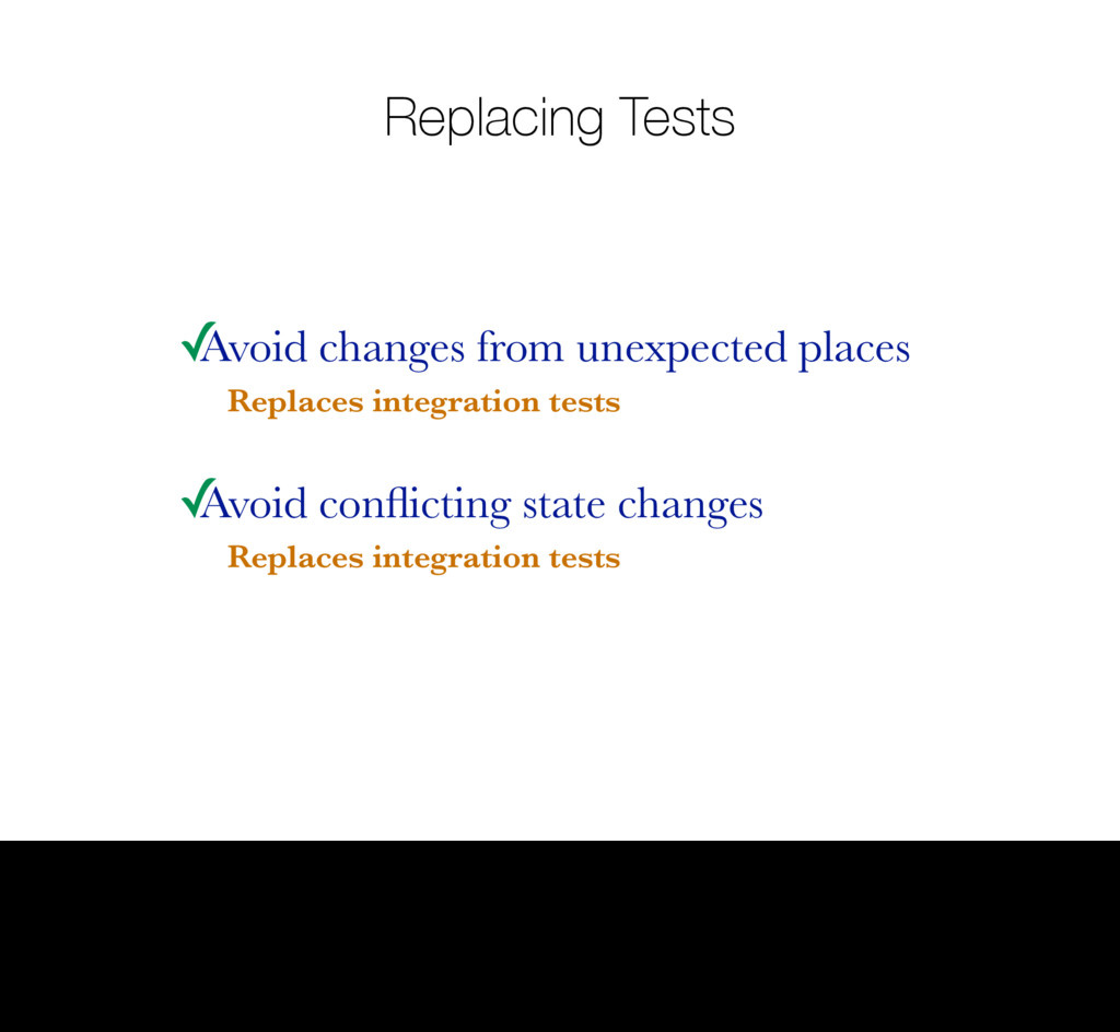 Replacing Tests ✓ Avoid changes from unexpected...