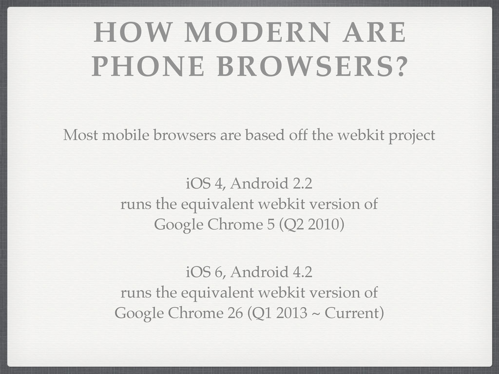 HOW MODERN ARE PHONE BROWSERS? iOS 4, Android 2...