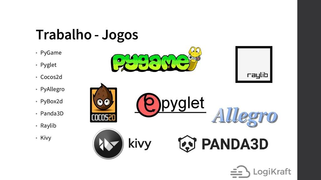 Trabalho - Jogos • PyGame • Pyglet • Cocos2d • ...