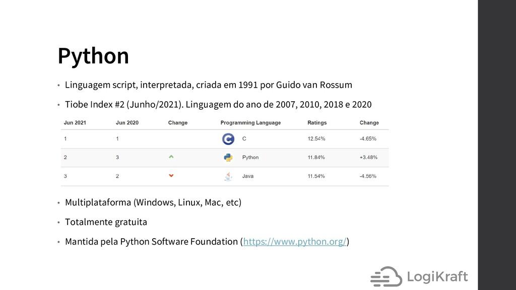 Python • Linguagem script, interpretada, criada...