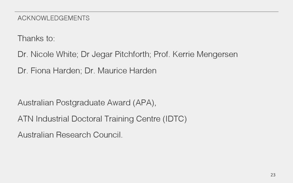 ACKNOWLEDGEMENTS! Thanks to:! Dr. Nicole White;...