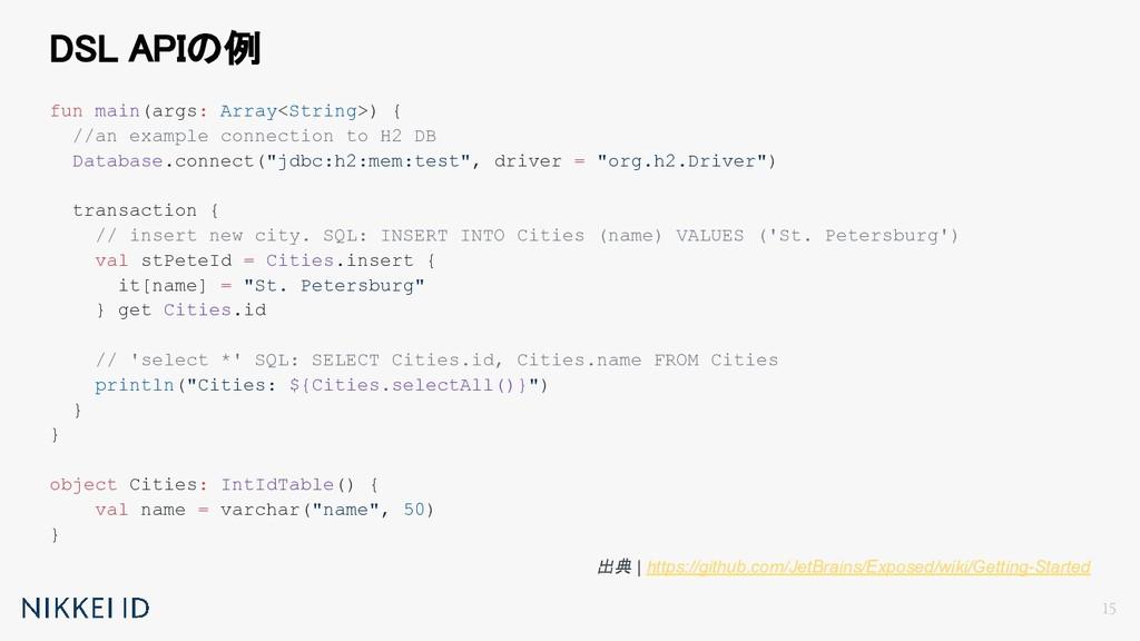 DSL APIの例 fun main(args: Array<String>) { //an...