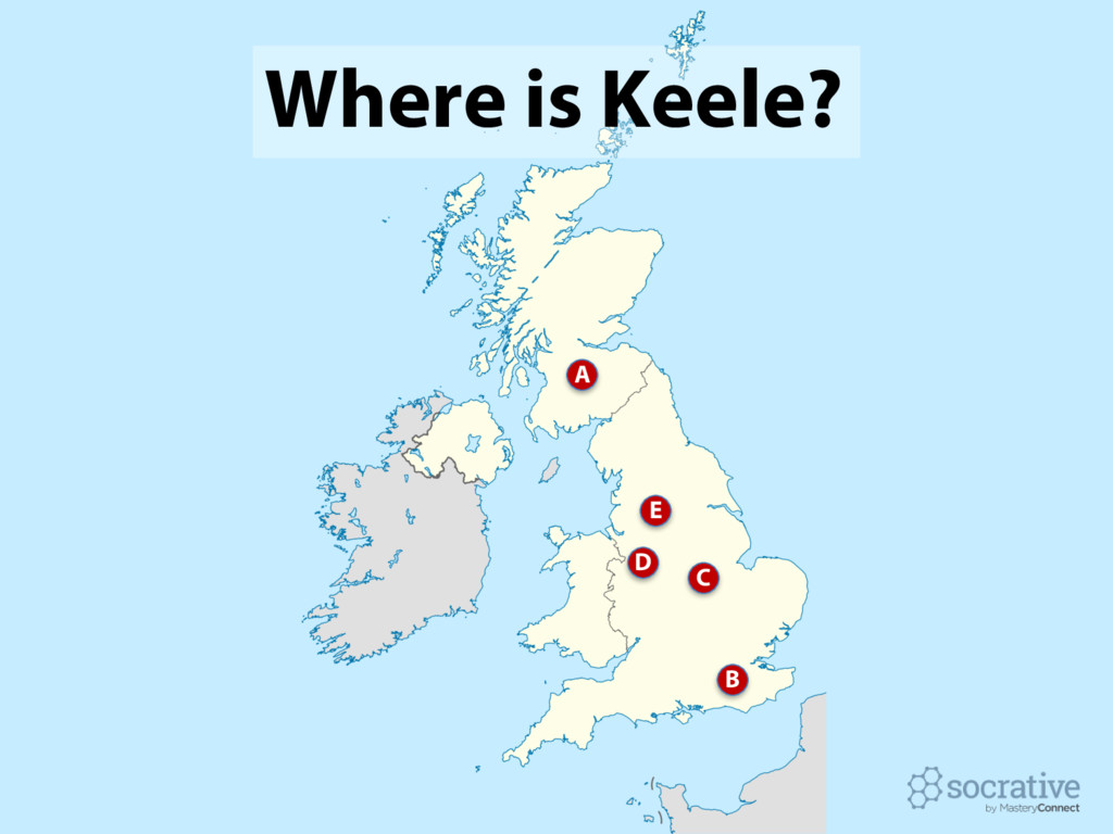 Where is Keele? C B A E D
