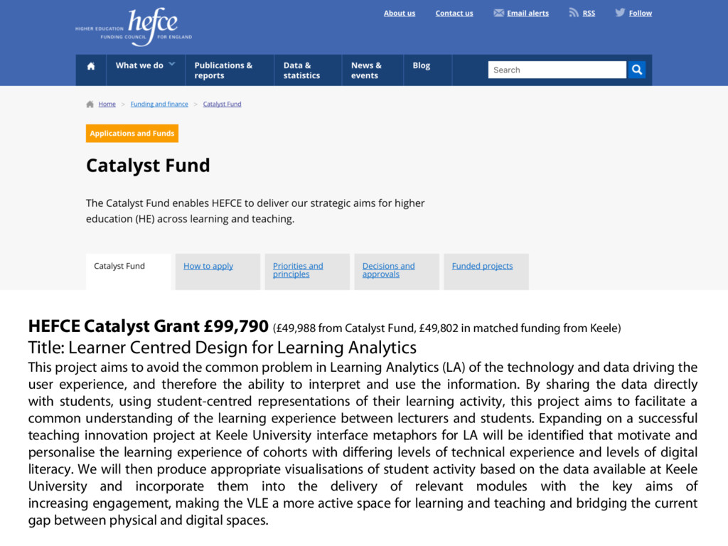 HEFCE Catalyst Grant £99,790 (£49,988 from Cata...