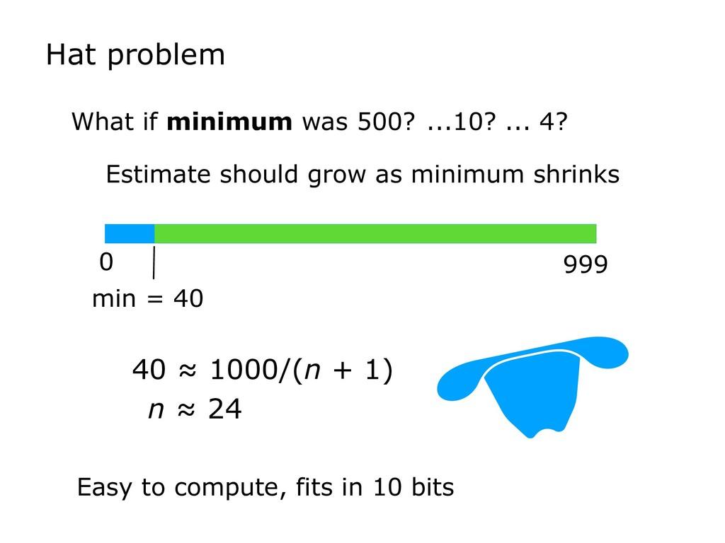 What if minimum was 500? Estimate should grow a...